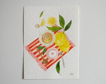 Lemon Tea - Original watercolor illustration