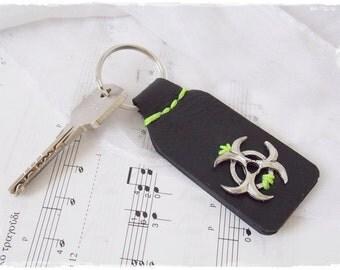 Biohazard Keychain, Sci-Fi Leather Keychain, Zombie Leather Key-Chain, LARP Key-Chain, Apocalypsh Leather Key Ring, Men's Leather Keychain