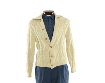 Vintage 70s Irish Fisherman's Cardigan Sweater Button Up Mens Womens Preppy 1970s S Small Ivory Cable Knit