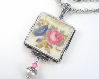 Broken China Jewelry Pink Rose Blue Morning Glory Pendant Necklace Vintage Porcelain Jewelry Upcycled Repurposed By Charmedware
