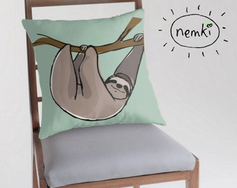 Sloth Illustrated Throw Pillow, Cushion Cover
