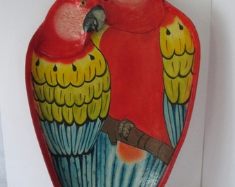 Serving Tray Vintage Macaws Love Birds, Bas Relief Birds Tropical Caribbean Beach Entertaining Parrots Wall Décor, Painted Wood