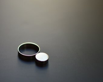 Sterling Silver Ring, Silver Moon, Contemporary, Minimal, Modern, Brutalist, Modernist, Statement