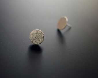 Sterling Silver Earrings, Circle Studs, Medium Orange Skin, Textured, Ear Studs, Circle, Modern, Contemporary, Minimal, Post Earrings