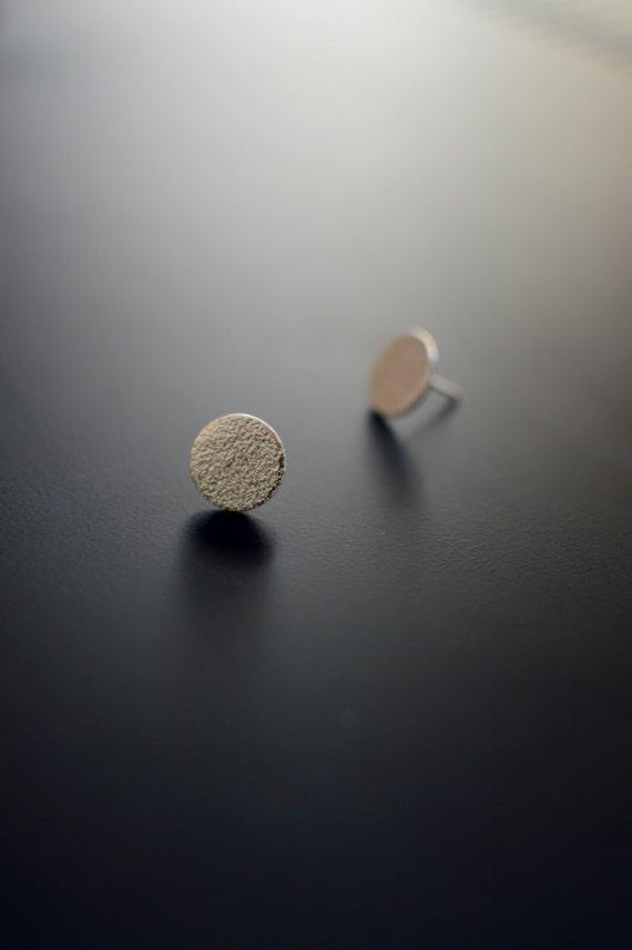 Sterling Silver Earrings, Circle Studs, Medium Orange Skin, Textured, Ear Studs, Circle, Modern, Contemporary, Minimal, Post Earrings