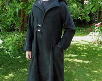 Elder Coat by Legendary Unlined Fleece Jacket with pointed hood and pockets - Size XL in Black