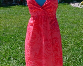 fucia pink  cotton  halter top dress size med