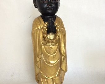 Buddha Baby Statue in Gold & Black - Asian Feng Shui Zen Sculpture Buddhist Altar Garden/Home Decor