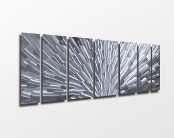 "Large Metal Wall Art Sculpture Silver Wall Art ""Bloom"" by Brian M Jones Modern Abstract Art Work Painting Contemporary Home Decor"
