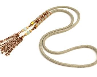 Long Tassel Necklace, Boho Tassel Pendant, Hippie Necklace, Aztec Style Necklace, Long Necklace with Copper Tassels