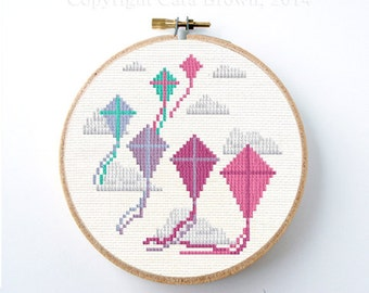 Kite Cross Stitch Pattern Instant Download Easy modern needlepoint cute design kite flying