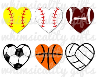 Heart Sports Balls with SVG, DXF, PNG Commercial & Personal Use