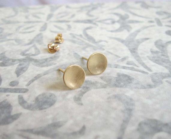 Gold disc studs , Gold circle post earrings , Brushed matt gold stud earrings , Handmade by Adi Yesod