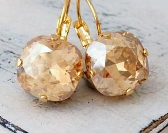 Champagne drop earrings, Champagne topaz crystal Swarovski stud earrings, Bridesmaids gift, Bridal earrings, gold or silver, drop or studs