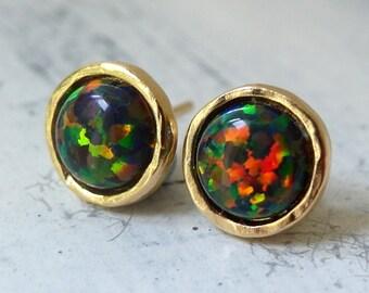 Opal earrings, Black Opal stud earrings, Opal studs, Glitter black Opal studs, Gold or silver stud earrings, October birthstone earrings