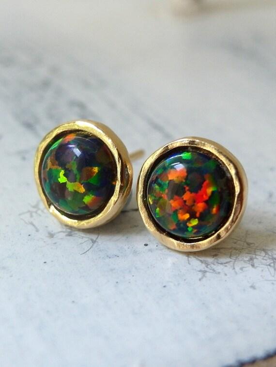 opal earrings black opal stud earrings opal studs glitter