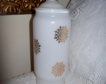 Vintage White Opaline Glass Vanity Jar Canister w/ Gold Snowflakes & Gilded Trim Only 8 USD