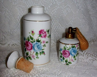 Vintage Moss Rose Porcelain Vanity Set Cork Top Bottle & Atomizer Japan Only 8 USD