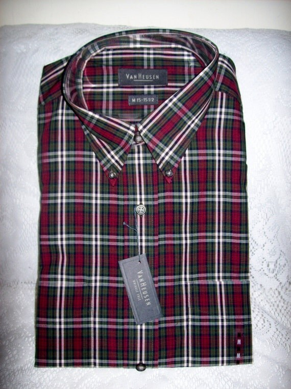 vintage men 39 s plaid shirt by van heusen medium 15 15