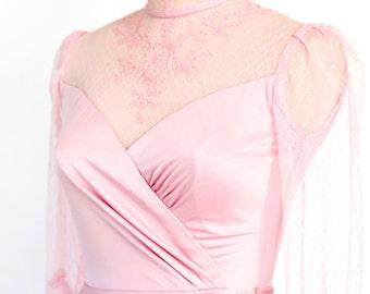 Vintage Pink Lace Long Sleeve Peplum Dress // Victorian Style Dress // Soft Pink Evening Gown // Vintage High Neckline Long Sleeve Dress