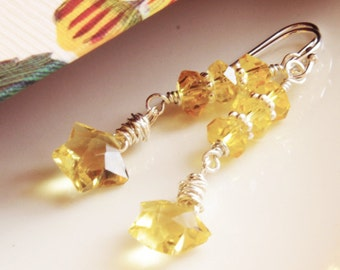 Citrine Jewelry Gemstone Earrings Yellow Quartz Star Earrings Citrine Wire Wrapped Sterling Silver November Birthday Gemstone Jewelry