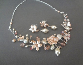 Brides jewelry set ~ Silver pearl necklace and earring set ~ Mauve ~ Champagne ~ Porcelain flowers ~ Freshwater pearls ~ Victorian ~GORGEOUS