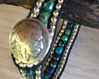 Azurite Malachite Leather Wrap Cuff Bracelet with Indian Head Nickel Button and Small Silver Metal Beads