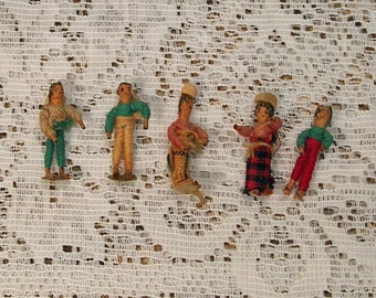 Tiny Vintage Handmade People Made of Wire and Thread Unique