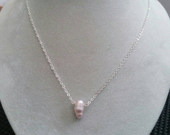 Solitaire Pearl Necklace. Single Bead Necklace. Floating Pearl Dainty Necklace. June Birthstone Jewelry Gifts. Simple Everyday Wear.