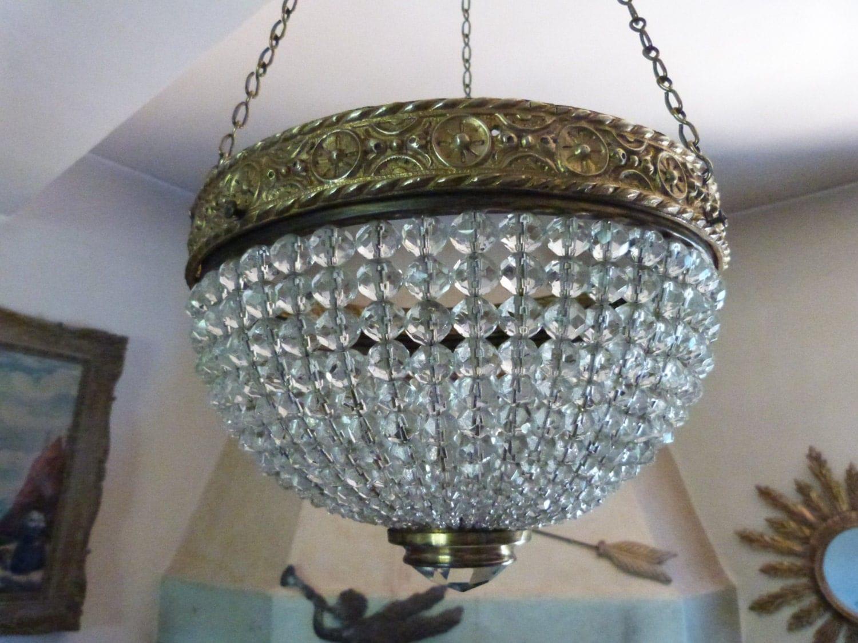 Antique 1900 French Crystal Bronze Chandelier Lighting Fixture