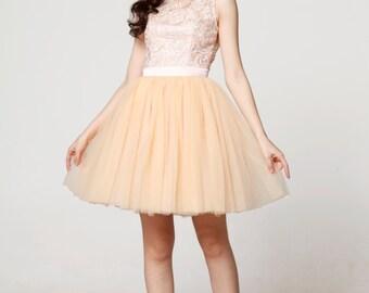 On Sale Size XXS Champagne Wedding dress/Tulle party dress/ bridesmaid dress/Prom/ handmade/ knee length formal dress - NC562-1