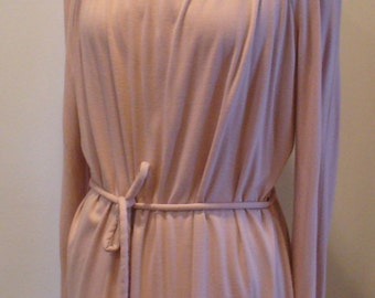 Vintage J. Tiktiner Made in France Pink Jersey Dress Size 44 EU