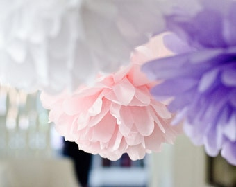 3 Large Tissue paper Pom Poms value set - pick your colors / weding party hanging decorations