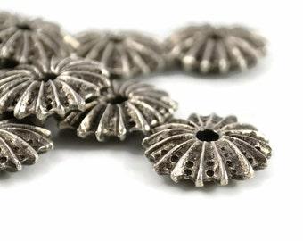 4 Mykonos Sea Urchin Bead - 19mm Pewter - Flat Sea Urchin