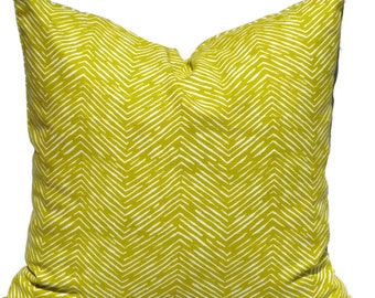 Ikat Pillow Cover, 20x20 Pillow Cover, Zig Zag Quadrille, Decorative Pillow, 18x18 20x20 22x22, Lumbar Pillow, Accent Pillow, Chartreuse
