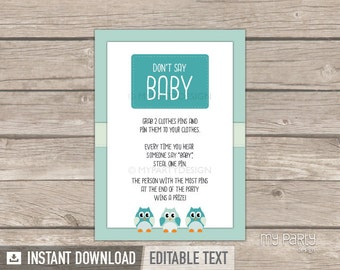 Don't say Baby Sign - Owl Baby Shower Game - Mint Teal - INSTANT DOWNLOAD - Printable PDF with Editable Text