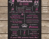 1st Birthday Princess Chalkboard Poster Photo Prop - Princess Birthday Party - Instant Download & Edit in Adobe Reader at home