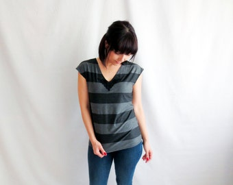 Jersey top, Striped top, Yoga tshirt, Women clothing, Tunic top, Cotton top, Jersey tshirt, Black top,Maternity top, Maternity clothing,
