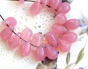 Opal pink teardrops, Czech Glass pink beads, drops, pressed beads - 6x10mm - 20pc - 2022