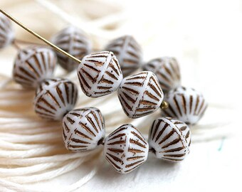 8mm Bicones, White with patina stripes, bicone beads, czech glass, rustic beads - 10x8mm - 10Pc - 2292
