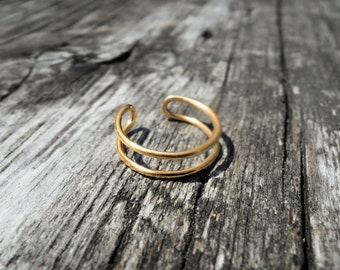 Solid Gold 14K - Double Knuckle Ring - Midi Rings Stacking Rings - Eco-Friendly Sustainable Gold - Yellow White Rose Gold - Adjustable