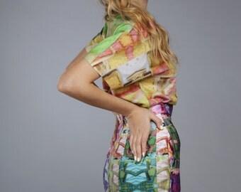 SALE 50% off skirt spring summer design cake print skirt pop art print sale
