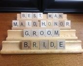 Scrabble Bride, Groom, wedding party table settings set