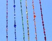 Long Rainbow Beaded Mobile SALE Hippie Mobile Boho Mobile Suncatcher Hanging Bead Art Glass Bead Art OOAK