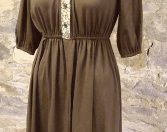 brown 1980's JERSEY KNIT DRESS calico placket S
