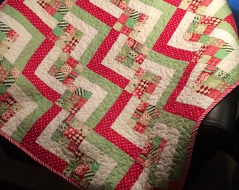"Red, Green and Ultra Modern Are All Together In This 34"" X 34"" Wonky Stair Block Quilt"