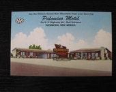 Tucumcari Route 66, Palomino Motel Postcard, Vintage 1950s Linen