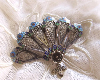 Topazio Pin Portugal Enameled Roses Gilt Spun Silver Sterling Fan Brooch Vermeil Feminine Romantic Fine Jewelry Something Old Wedding