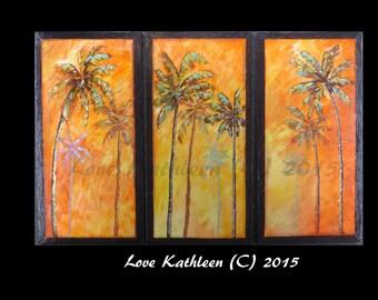 Huge Palm Tree Painting Modern Large Custom Beach Decor Ocean Decor Palette Knife Thick Impasto Palm Tree Painting - by Kathleen Fenton