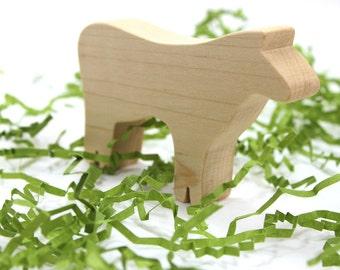 Wooden Farm Animal Toy Cow Figurine, farm animal toy, wooden toy, wood toy, wooden farm animal, wooden toy for boy, wooden toy for girls